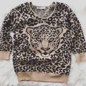 Cotton Emporium Sz XL Leopard Print Sweater